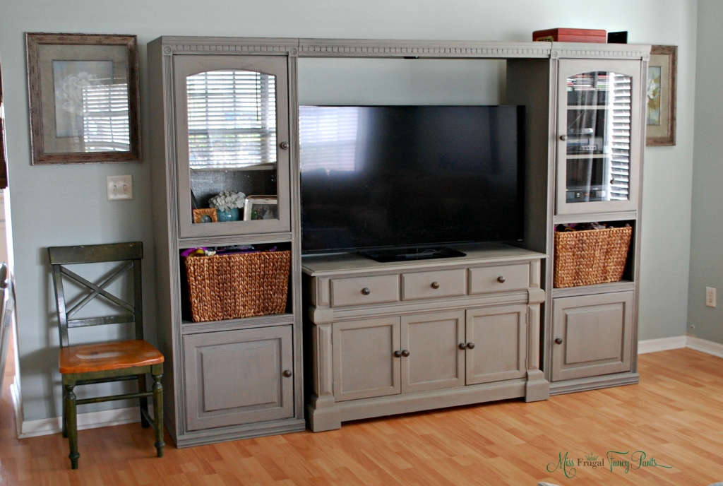 Diy chalk paint entertainment center makeover miss frugal fancy pants solutioingenieria Gallery
